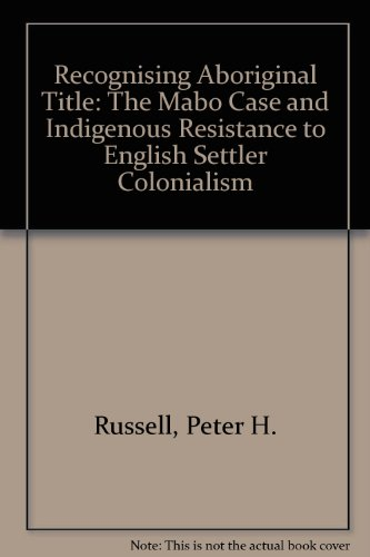 9780868408200: Recognising Aboriginal Title: The Mabo Case and Indigenous Resistance to English Settler Colonialism