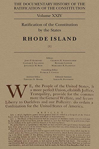 9780870204685: 24: Documentary History of the Ratification of the Constitution, Volume XXIV: Ratification of the Constitution by the States: Rhode Island, No. 1