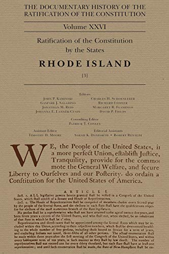 9780870206214: The Documentary History of the Ratification of the Constitution Volume XXVI: Ratification of the Constitution by the States, Rhode Island [3]