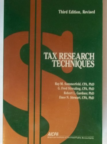9780870510663: Tax Research Techniques (Studies in Federal Taxation, 5)