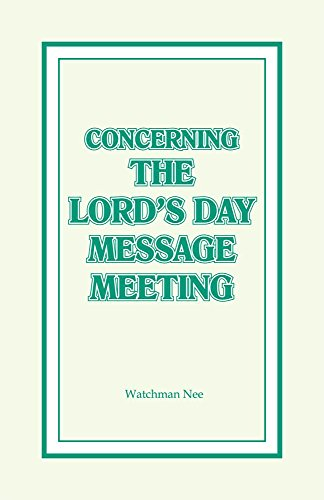 9780870833816: Concerning the Lord's Day Message Meeting