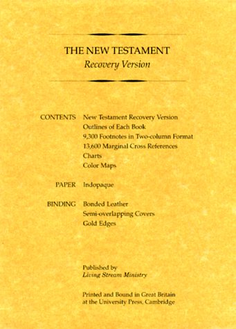 New Testament Recovery Version (Black; Bonded leather; Small): Living Stream Ministry