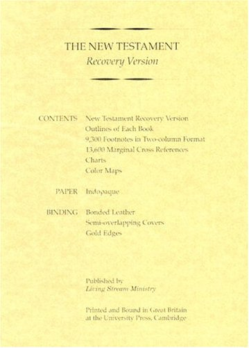 9780870836213: New Testament Recovery Version (Burgandy; Bonded leather; Small)
