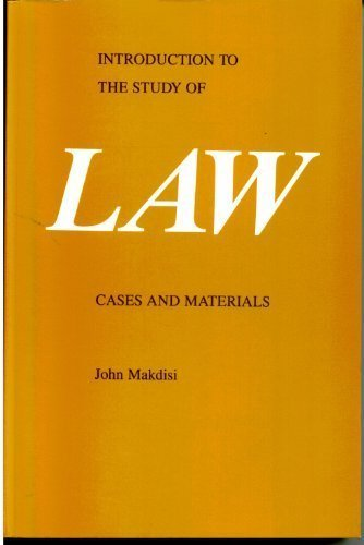 9780870845512: Introduction to the Study of Law: Cases and Materials
