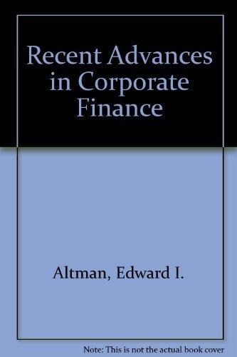 9780870945601: Recent Advances in Corporate Finance