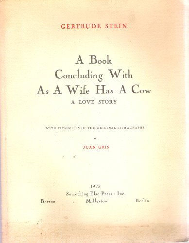 9780871100924: A Book Concluding With As a Wife Has a Cow: A Love Story