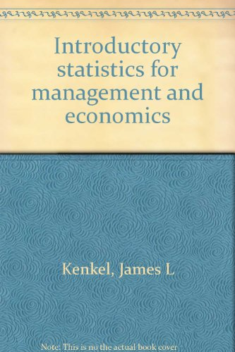 9780871504685: Introductory statistics for management and economics