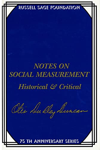 9780871542199: Notes on Social Measurement: Historical and Critical