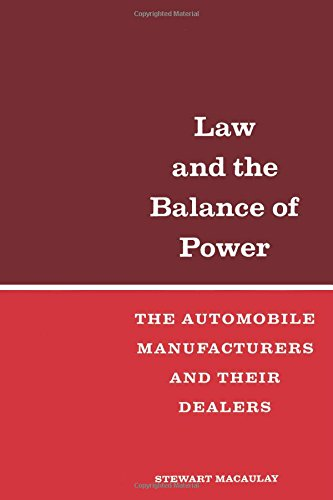 9780871545749: Law and the Balance of Power: The Automobile Manufacturers and their Dealers