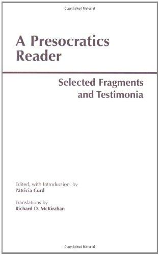 9780872203266: A Presocratics Reader