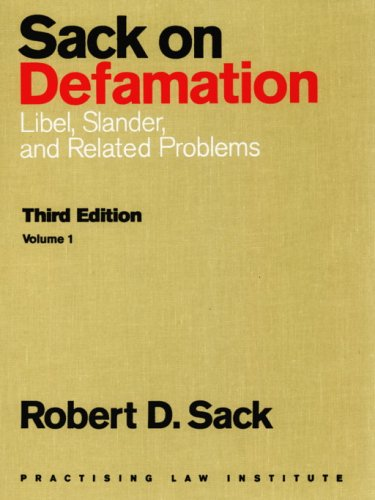 9780872241183: Sack on Defamation: Libel, Slander and Related Problems (2-Volume Set)