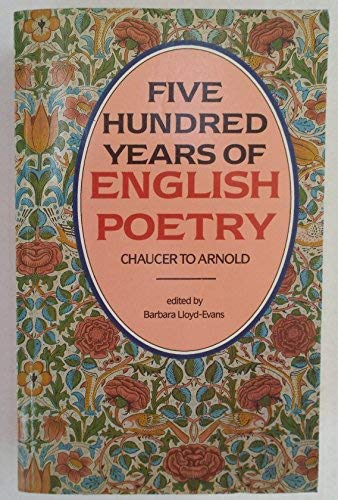 9780872262157: Five Hundred Years of English Poetry: Chaucer to Arnold