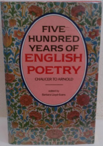 9780872263253: Five Hundred Years of English Poetry: Chaucer to Arnold