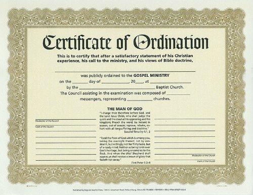 9780872273306: Certificate of Ordination