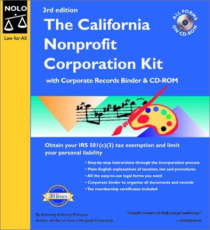 9780873376419: The California Nonprofit Corporation Kit with CDROM