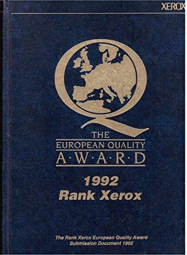 9780873892926: Rank Xerox: European Quality Award : 1992 Rank Xerox