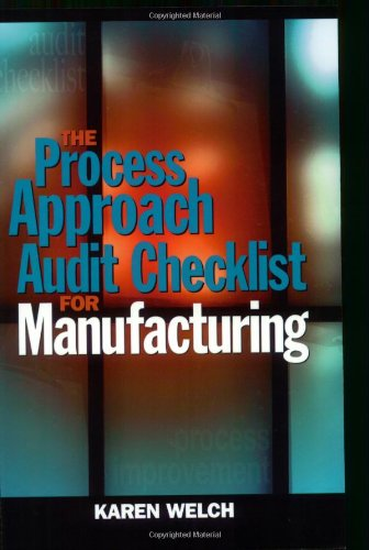 The Process Approach Audit Checklist for Manufacturing: Karen Welch
