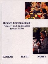 9780873932165: Business Communication: Theory and Application