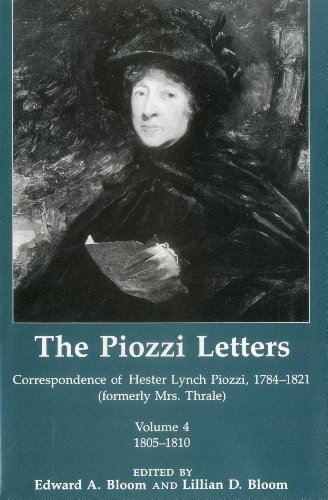 9780874133936: The Piozzi Letters V4: Correspondence of Hester Lynch Piozzi, 1784-1821 (Formerly Mrs. Thrale) 1805-1810