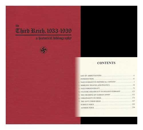9780874363791: The Third Reich, 1933-1939: A Historical Bibliography (ABC-Clio research guides)