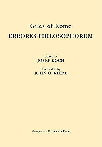 9780874624298: Giles of Rome: Errores Philosophorum (Mediaeval Philosophical Texts in Translation)