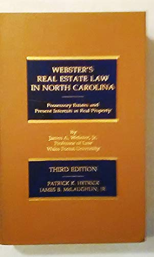 9780874734133: Webster's Real Estate Law in North Carolina With 1991 Cumulative Supplement