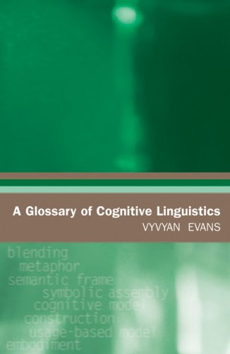 9780874809138: A Glossary of Cognitive Linguistics