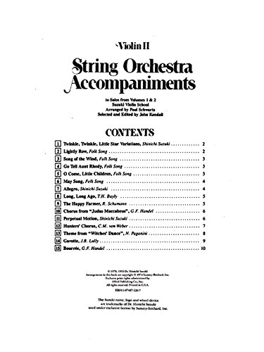 9780874873207: String Orchestra Accompaniments to Solos from Volumes 1 & 2 / Violin II