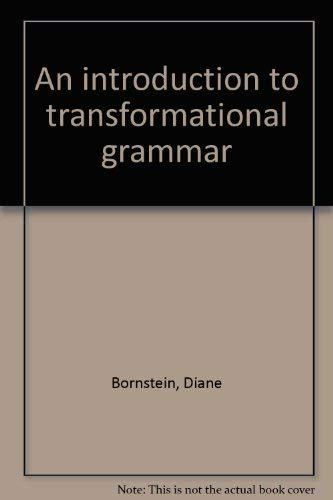 9780876264300: An introduction to transformational grammar