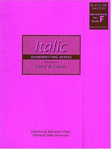 9780876781128: Getty-Dubay Italic Handwriting Series Blackline Masters Worksheets for Book F