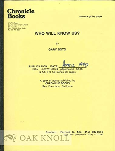 Who Will Know Us (0877016739) by Soto, Gary