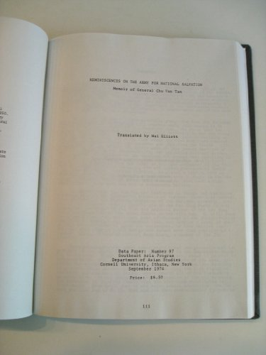 9780877270973: Reminiscences on the army for National Salvation: Memoir of General Chu Van Tan (Data paper - Southeast Asia program, Cornell University ; no. 97)