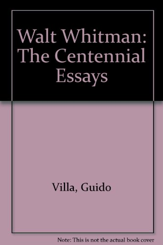 9780877454595: Walt Whitman: The Centennial Essays