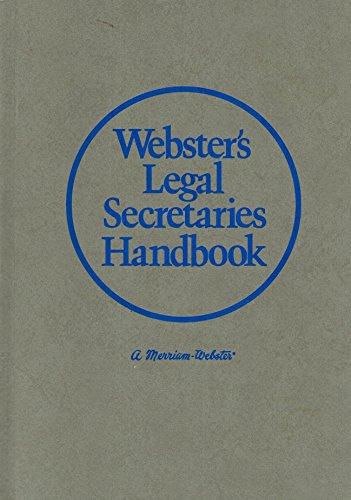 9780877790341: Webster's Legal Secretaries Handbook