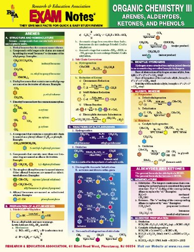9780878917662: Organic Chemistry III - Arenes, Aldehydes, Ketones, and Phenols EXAM Notes (EXAM Notes Reference Charts)