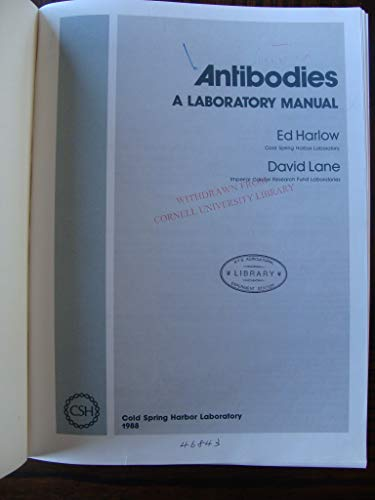 9780879693749: Antibodies: A Laboratory Manual