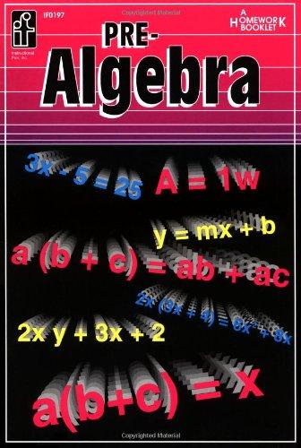 9780880128667: Pre-algebra: A Homework Booklet (Algebra Series)