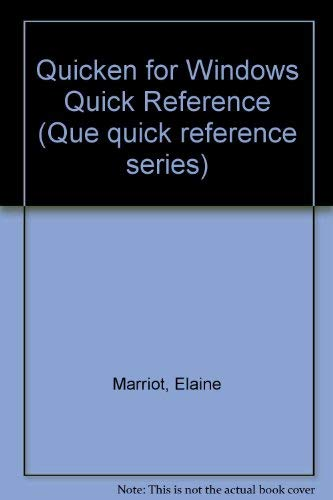 9780880229760: Quicken for Windows Quick Reference (Que Quick Reference Series)