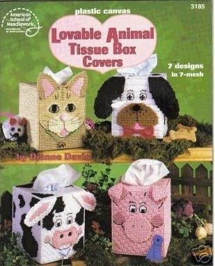9780881958195: Plastic Canvas Lovable Animal Tissue Box Covers (American School of Needlework #3185)