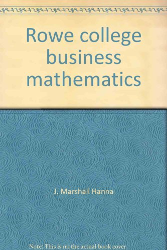 9780882946641: Rowe college business mathematics