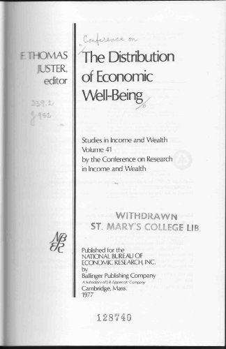 9780884104780: Distribution of Economic Well-being