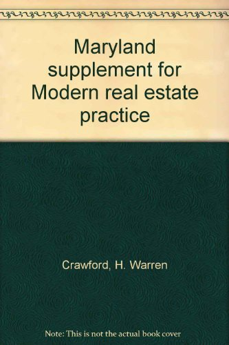 9780884626930: Maryland supplement for Modern real estate practice