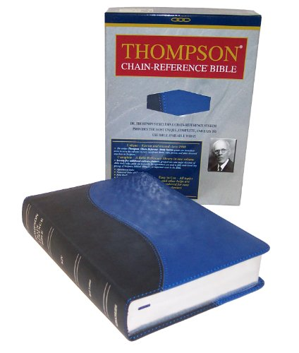 9780887075681: Thompson Chain Reference Bible (KJV, Handy Size, 2-color Blue/Navy Deluxe Kirvella Material, Red Letter)