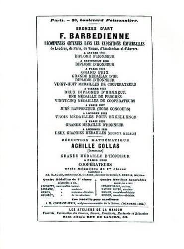 9780887407055: Bronzes D'Art F. Barbedienne: Recompenses Obtenues Dans les Expositions Universelles de Londres, de Paris, de Vienne, D'Amsterdam Et D'Anvers (Abage)