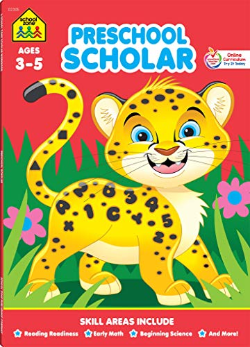 9780887434952: Preschool Scholar Deluxe Edition Workbook, Ages 3-5, tracing letters & numbers, learning shapes & colors, animal names, playful motivation