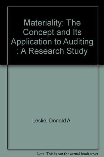 9780888001306: Materiality: The Concept and Its Application to Auditing : A Research Study
