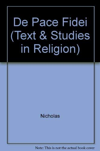 9780889467361: Nicholas of Cusa on Interreligious Harmony: Text Concordance and Translation of De Pace Fidei (Texts & Studies in Religion) (English and Latin Edition)