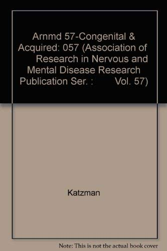 Congenital and Acquired Cognitive Disorders (Association of Research in Nervous and Mental Diseas...