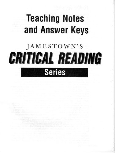9780890616482: Critical Reading Teachers Notes and Answer Keys