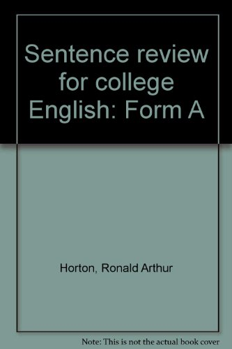 9780890848555: Sentence review for college English: Form A